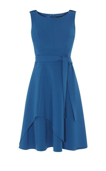 Karen Millen, ASYMMETRIC FLARED DRESS Blue 0