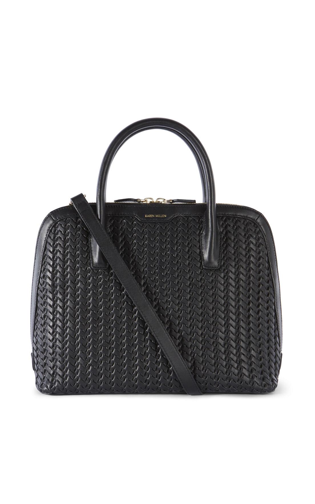 Karen Millen, WOVEN LEATHER BAG Black 0