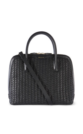 Karen Millen, WOVEN LEATHER BAG Black 0