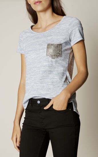 Karen Millen, STUDDED POCKET T-SHIRT Pale Blue 2