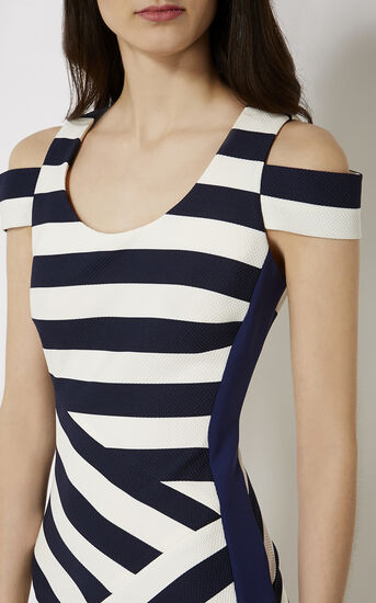 Karen Millen, STRIPED MIDI DRESS Blue/Multi 4