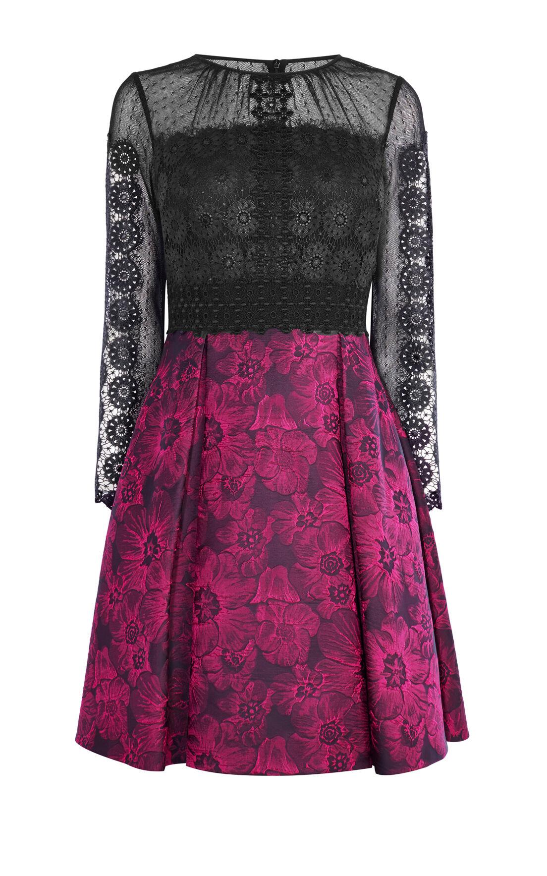 Karen Millen, LACE AND JACQUARD PROM DRESS Black/Multi 0