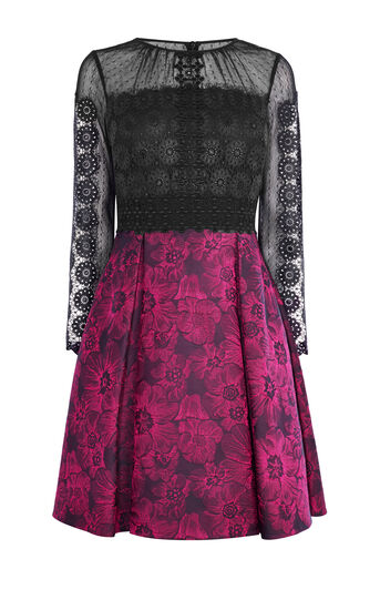 Karen Millen, LACE AND JACQUARD PROM DRESS Black/Multi 0