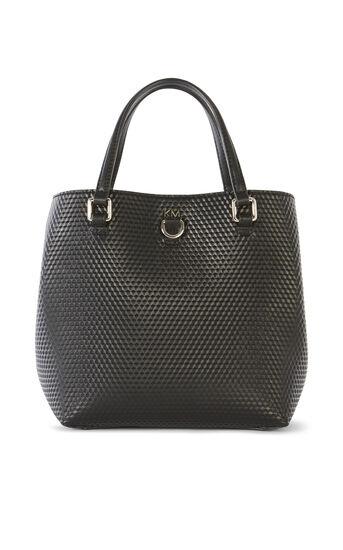 Karen Millen, EMBOSSED MINI BUCKET BAG Black 0