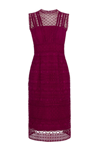 Karen Millen, GRAPHIC LACE PENCIL DRESS Pink/Multi 0