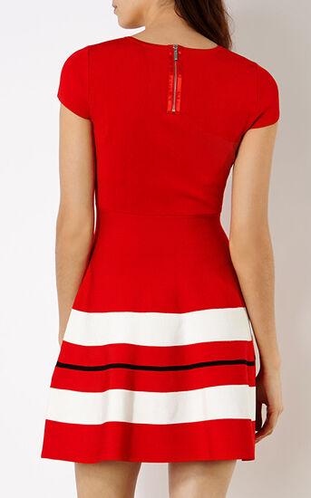 Karen Millen, STRIPED STRETCH-KNIT DRESS Red 3