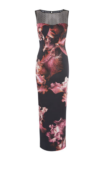 Karen Millen, DZ193 MIDNIGHT ORCHID PRINT ON Multicolour 0