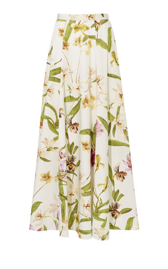 Karen Millen, FLORAL-PRINT COTTON MAXI SKIRT Multicolour 0