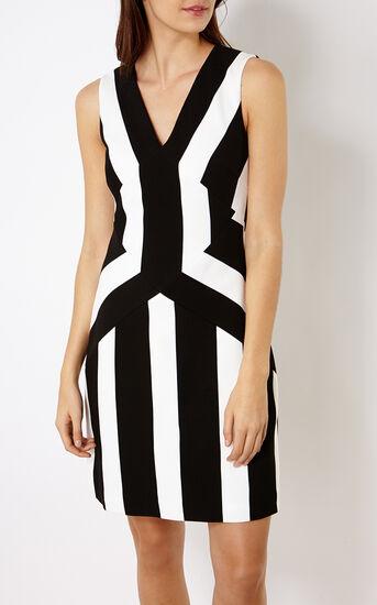 Karen Millen, STRIPED A-LINE DRESS Blk&Wht 2