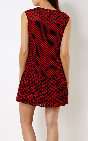 Karen Millen, PRINTED PLEAT DRESS Red/Multi 3