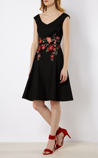 Karen Millen, FLORAL EMBROIDERY DRESS Black/Multi 1