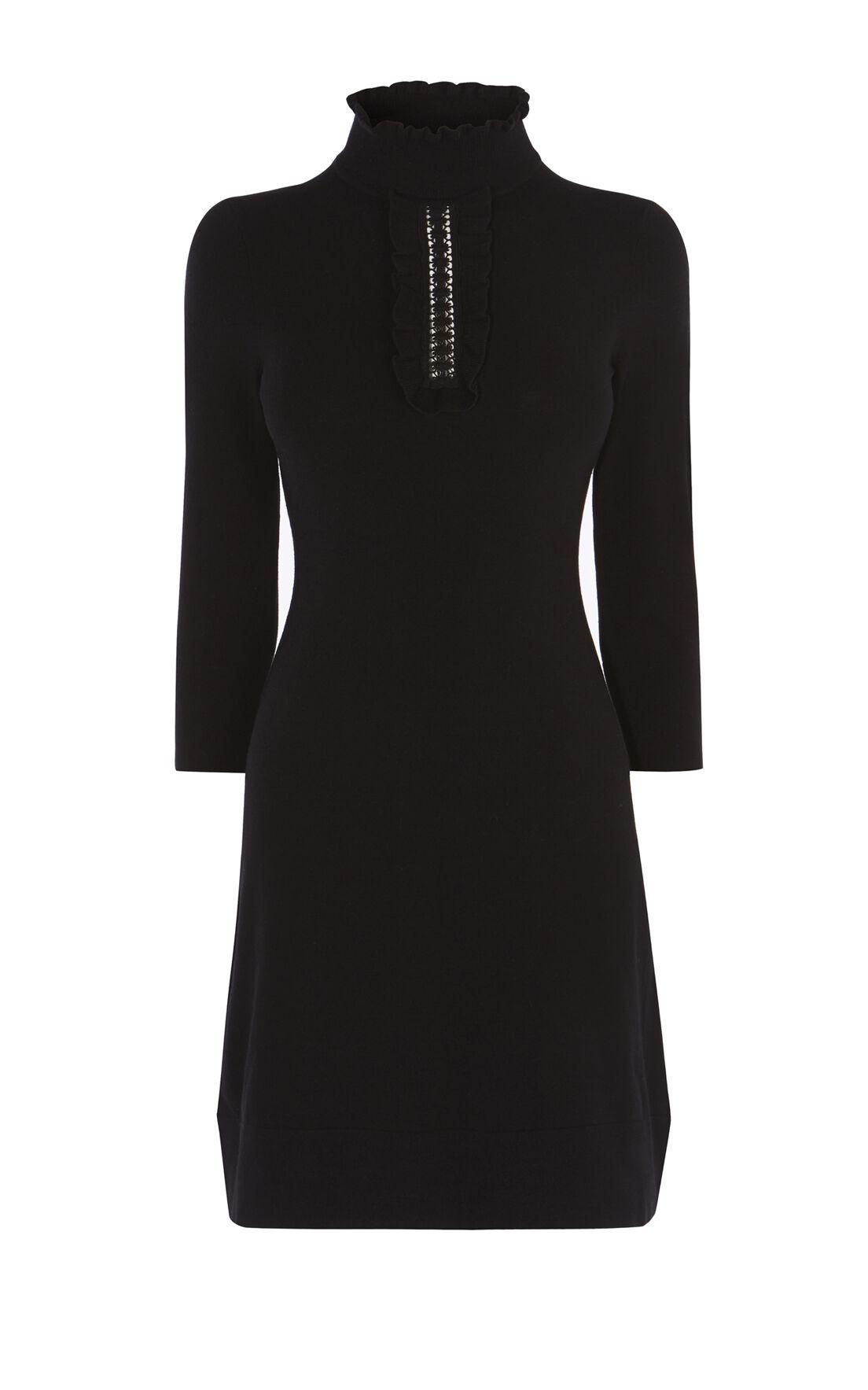 Karen Millen, HIGH-NECK KNIT DRESS Black 0
