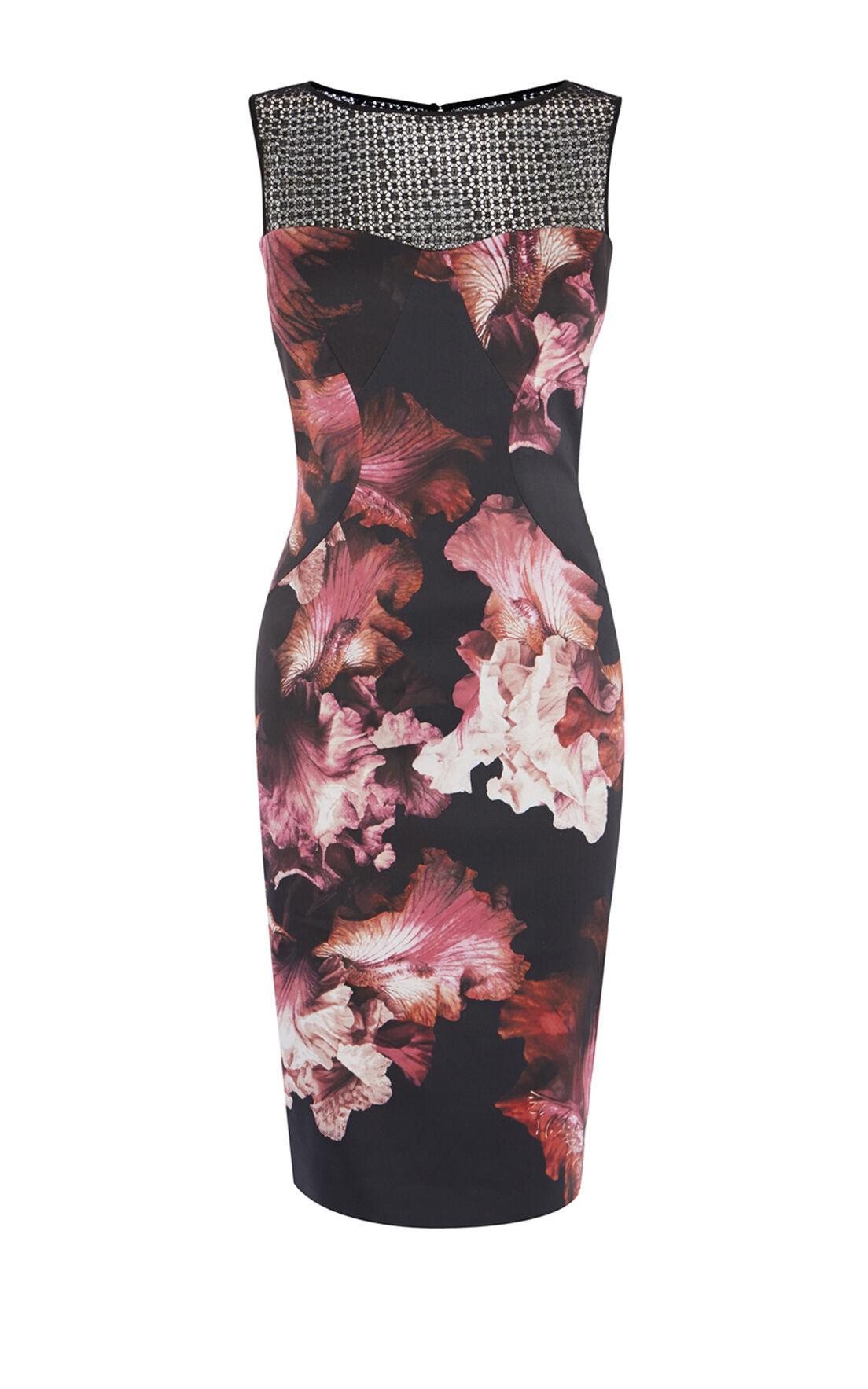 Karen Millen, MIDNIGHT ORCHID PENCIL DRESS Multicolour 0