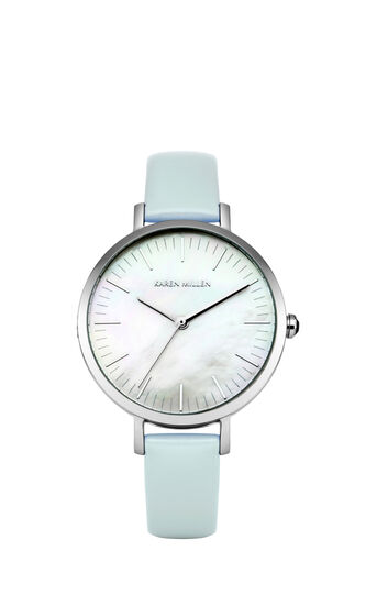 Karen Millen, MOTHER OF PEARL AND LEATHER WA Pale Blue 0