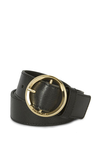 Karen Millen, ROUND-BUCKLE BELT Black 0
