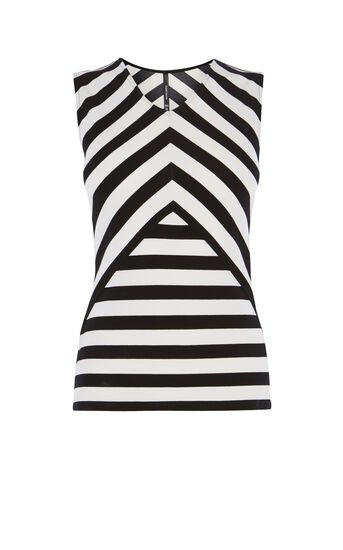 Karen Millen, STRIPED CUTOUT TOP Black & White 0