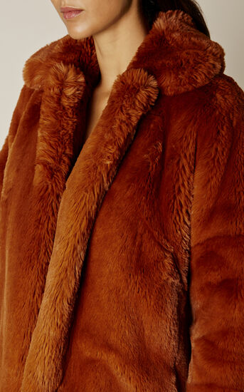 Karen Millen, TEDDY FUR COAT Tan 3