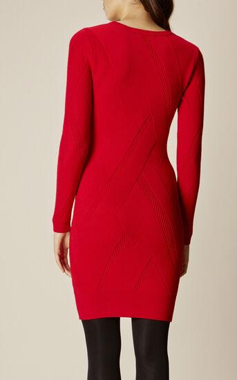 Karen Millen, GRAPHIC RIB DRESS Red 3
