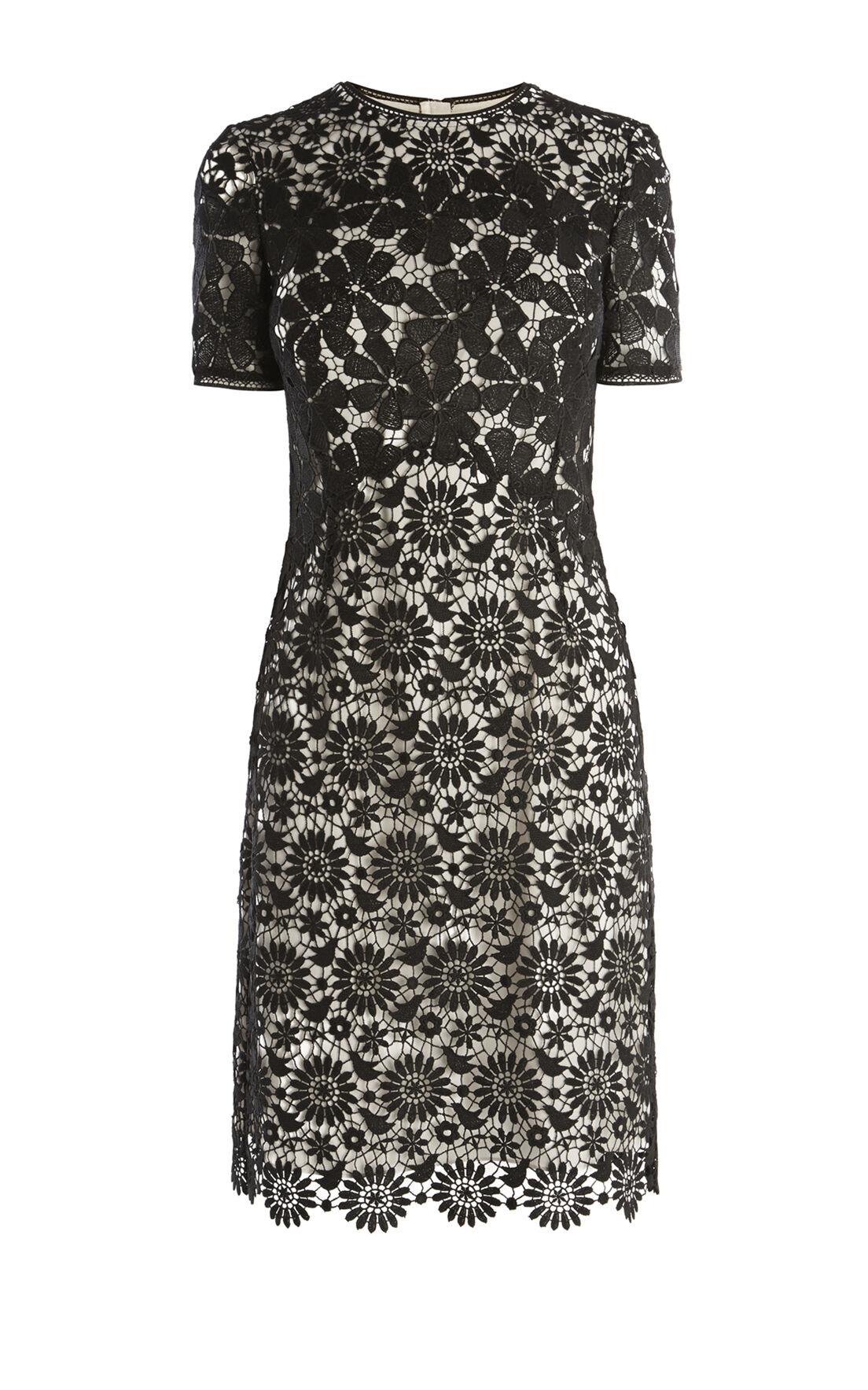 Karen Millen, LACE PENCIL DRESS Black/Multi 0