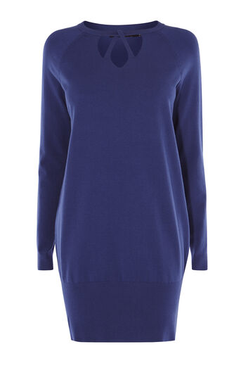 Karen Millen, CUT-OUT NECK TUNIC Blue 0