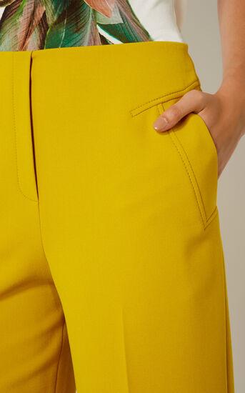 Karen Millen, CROPPED WIDE-LEG TROUSERS Yellow 4
