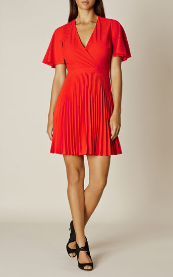Karen Millen, LASER CUT-OUT DRESS Red 1