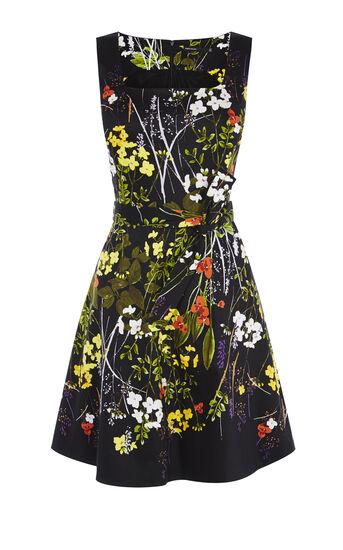 Karen Millen, FLORAL FLARED DRESS Multicolour 0