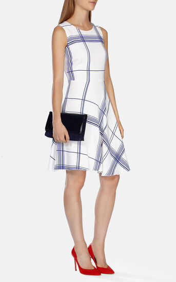 Karen Millen, FLUID CHECK PRINT DRESS White/Mult 1