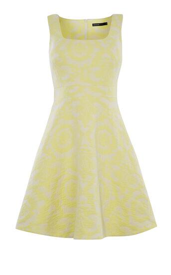 Karen Millen, FLORAL-JACQUARD DRESS Pale Yellow 0