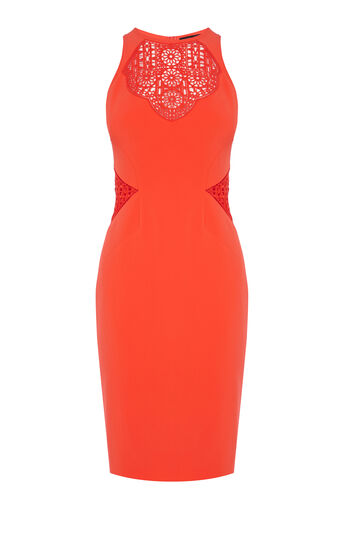 Karen Millen, Graphic tribal cutwork dress Orange 0