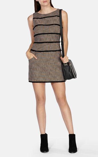 Karen Millen, FRINGED TWEED SHIFT DRESS Blk/Multi 1