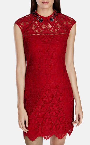 Karen Millen, BEADED-COLLAR LACE DRESS Red 2