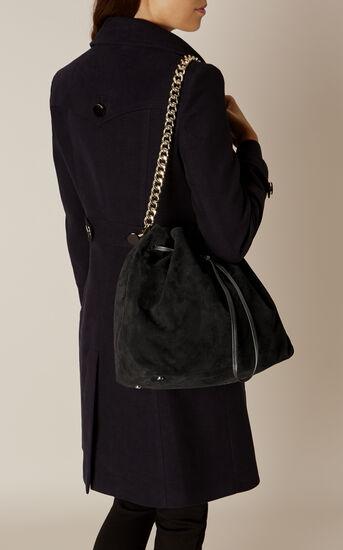 Karen Millen, SUEDE DRAWSTRING BAG Black 1