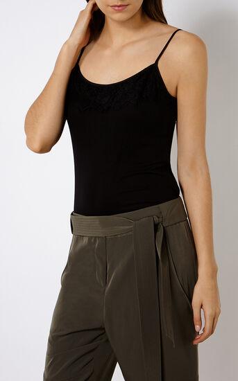 Karen Millen, LACE-TRIM CAMISOLE Black 2