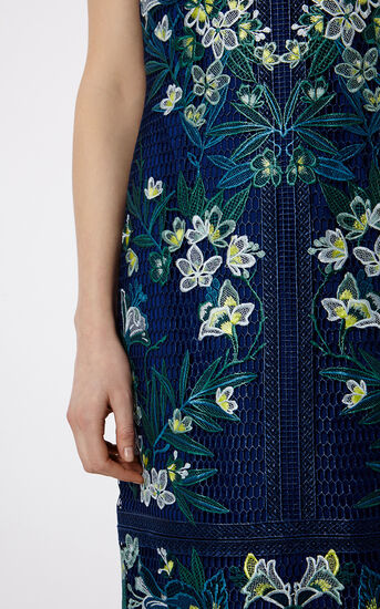 Karen Millen, TROPICAL-EMBROIDERY LACE DRESS Blue/Multi 4
