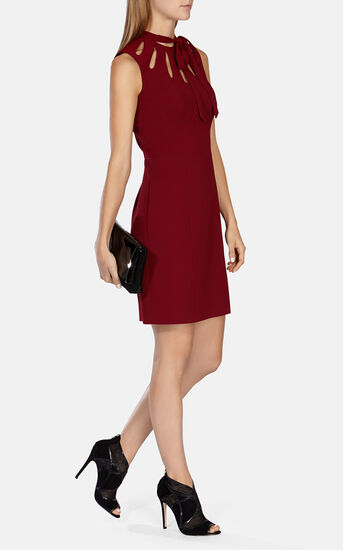 Karen Millen, TIE NECK DETAIL JACQUARD DRESS Dark Red 1