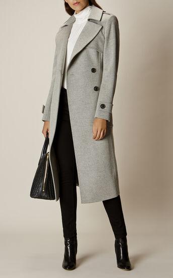Karen Millen, LONG-LINE COAT Grey 1