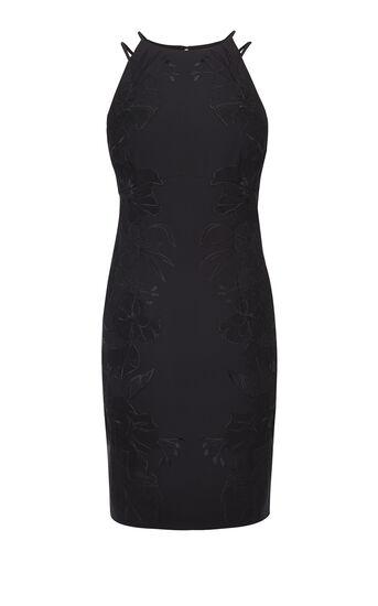 Karen Millen, FLORAL-APPLIQUÉ PENCIL DRESS Black 0