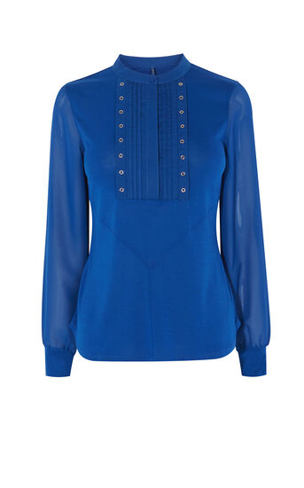 Karen Millen, SHEER SLEEVE STUDDED SHIRT Teal 0