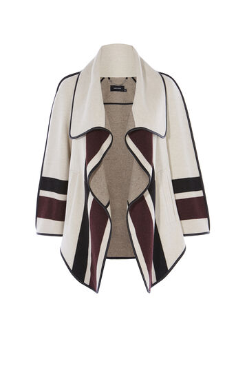 Karen Millen, STRIPE WRAP COAT Neutral 0