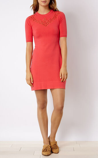 Karen Millen, LACE DETAIL KNIT DRESS Pink 1