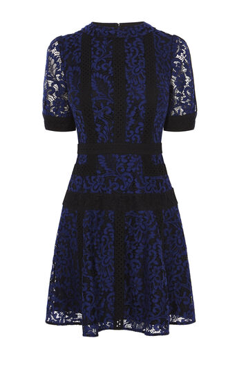 Karen Millen, LACE PANEL DRESS Blue/Multi 0