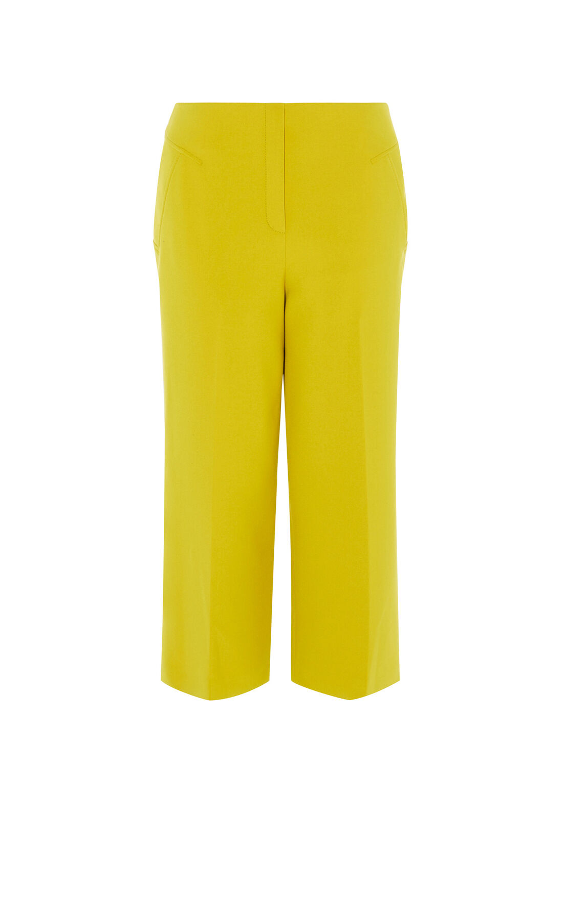 Karen Millen, CROPPED WIDE-LEG TROUSERS Yellow 0