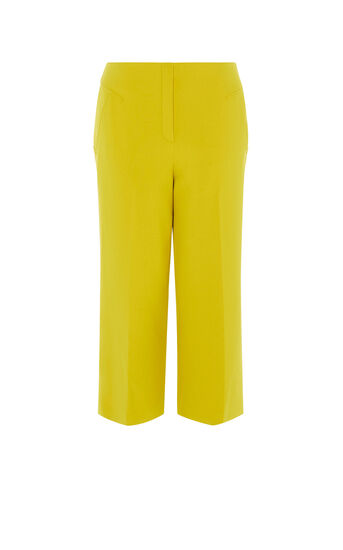 Karen Millen, CROPPED WIDE-LEG TROUSERS Yellow 0