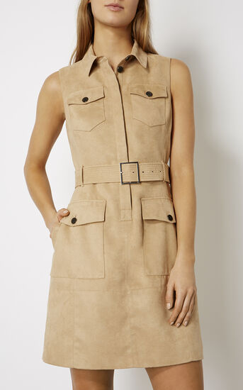 Karen Millen, FAUX-SUEDE SAFARI DRESS Camel 2