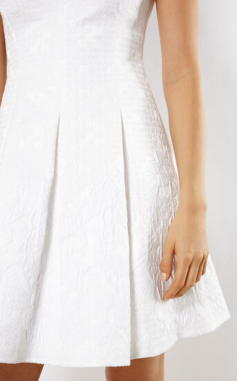 Karen Millen, JACQUARD DRESS White 4