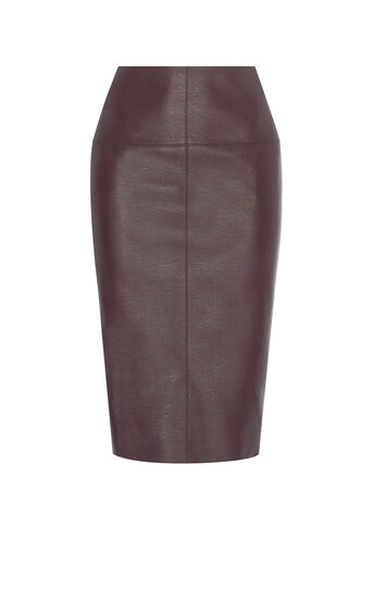 Karen Millen, FAUX-LEATHER PENCIL SKIRT Aubergine 0