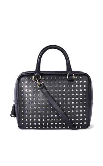 Karen Millen, LEATHER STUD BOWLING BAG Black 0