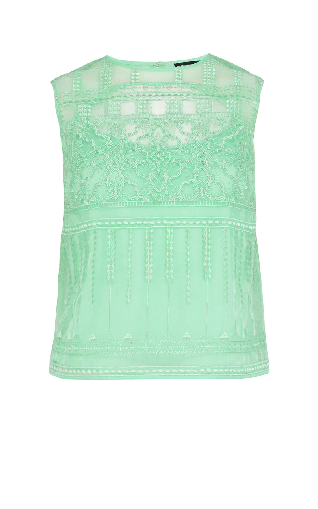 Karen Millen, Lace embroidery organza top Green 0