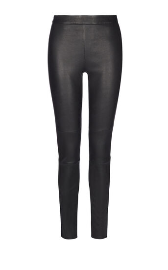 Karen Millen, BLACK LEATHER LEGGINGS Black 0